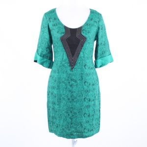 Lauren Moffatt green linen sheath dress 6